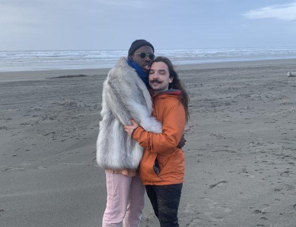 Raja and Collin on the Beach in Long Beach WA